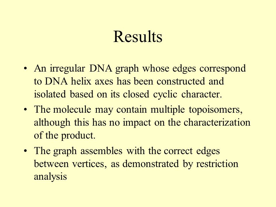 Results An irregular DNA graph whose edges correspond to DNA helix axes has been constructed and isolated based on its closed cyclic character.