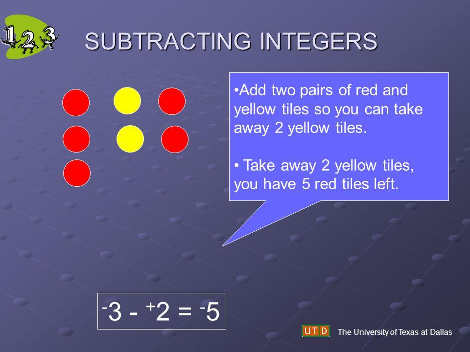 -3 - +2 = -5 SUBTRACTING INTEGERS