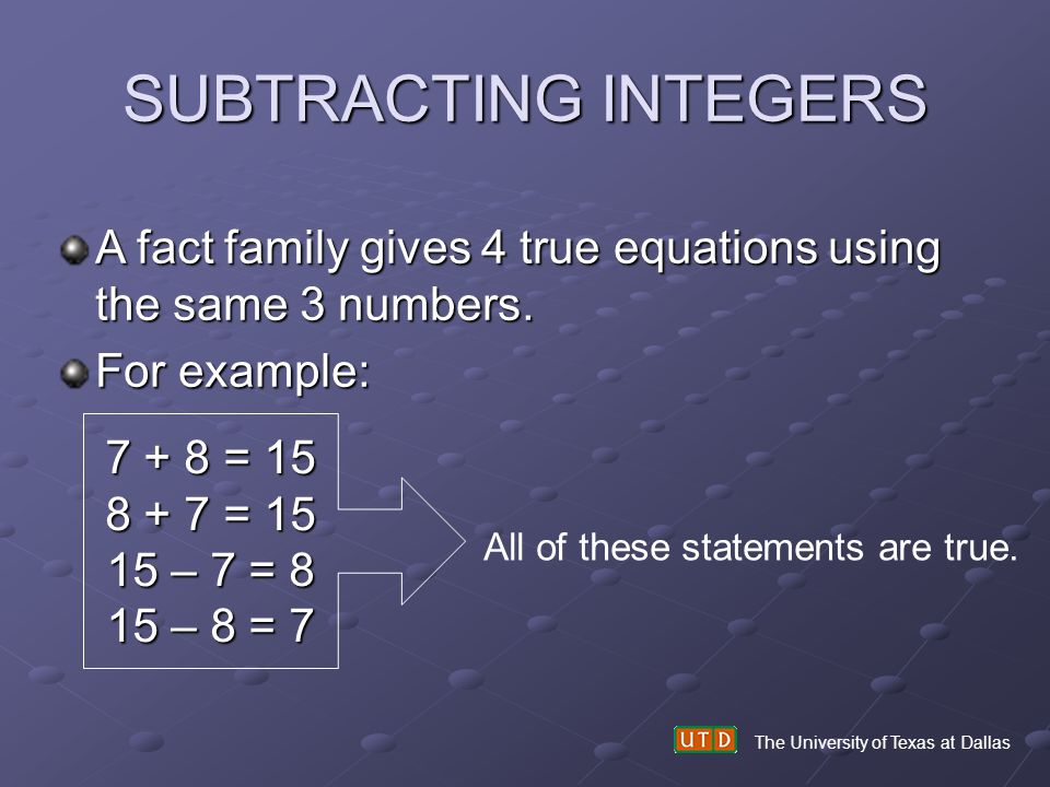 SUBTRACTING INTEGERS A fact family gives 4 true equations using the same 3 numbers. For example: 7 + 8 = 15.