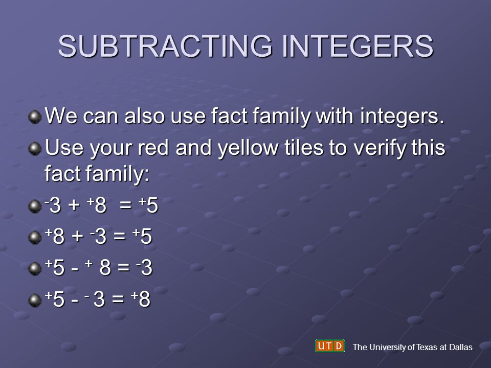 SUBTRACTING INTEGERS We can also use fact family with integers.