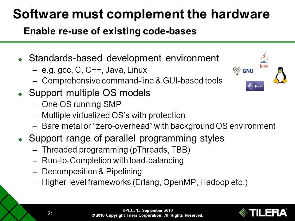 Software must complement the hardware Enable re-use of existing code-bases