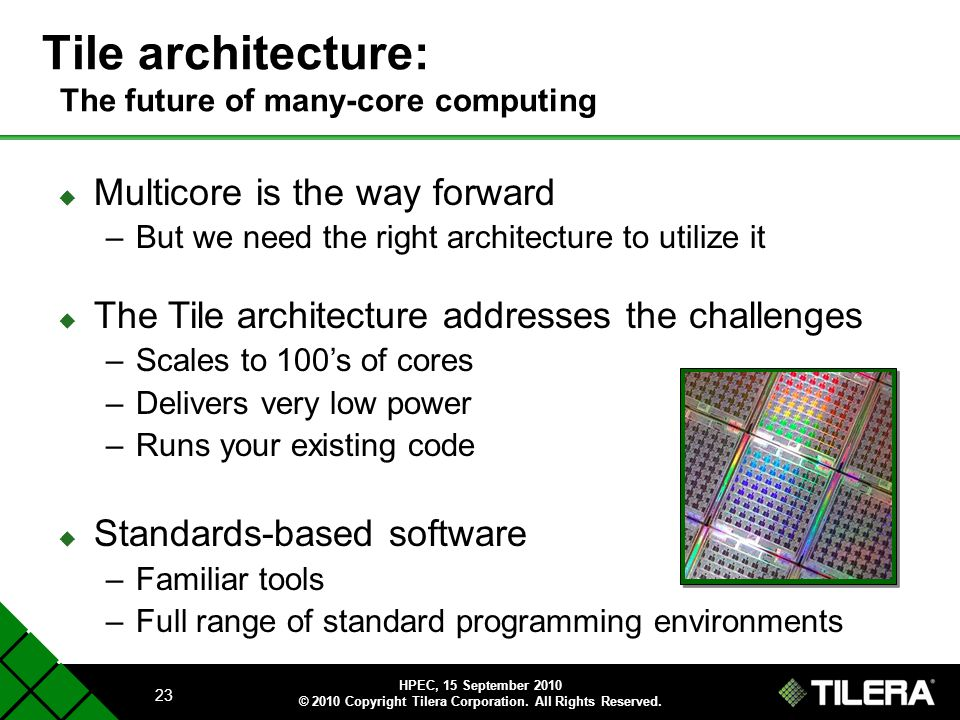 Tile architecture: The future of many-core computing