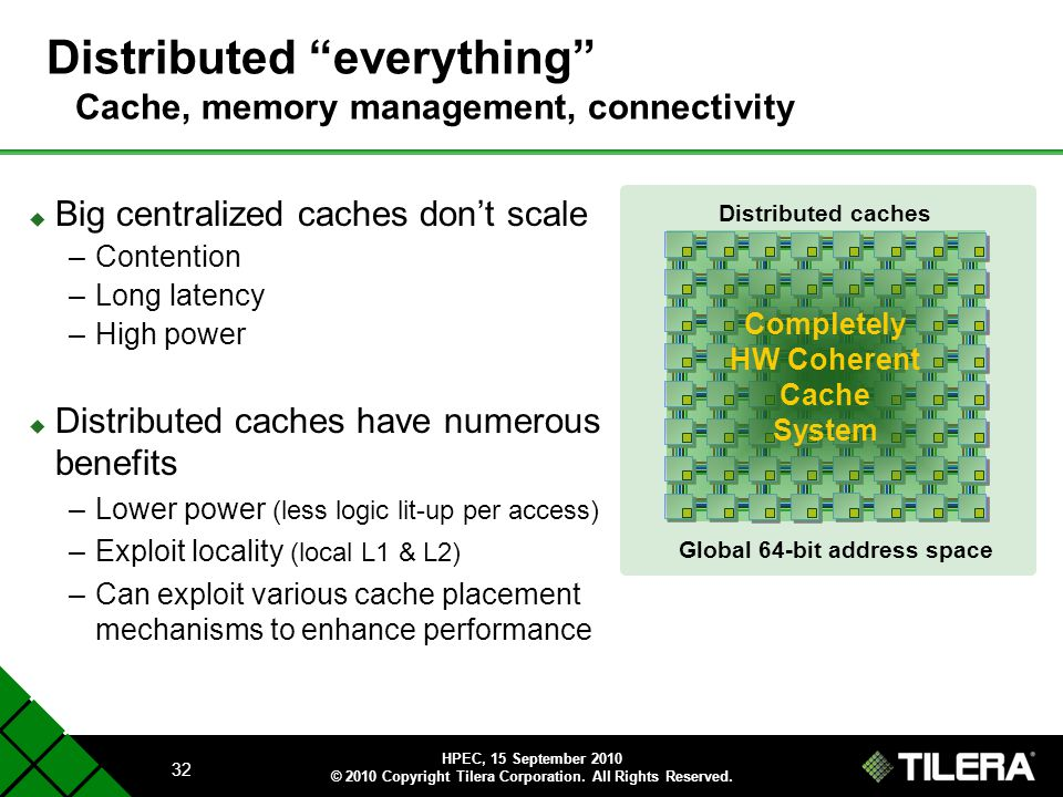 Distributed everything Cache, memory management, connectivity
