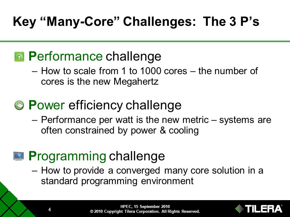 Key Many-Core Challenges: The 3 P's