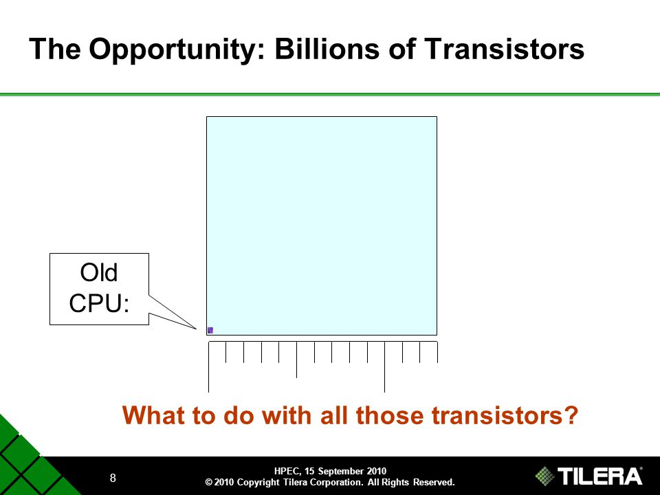 The Opportunity: Billions of Transistors