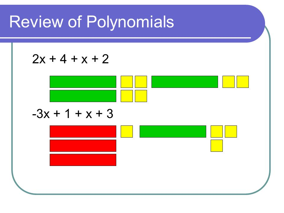 Review of Polynomials 2x + 4 + x + 2 -3x + 1 + x + 3