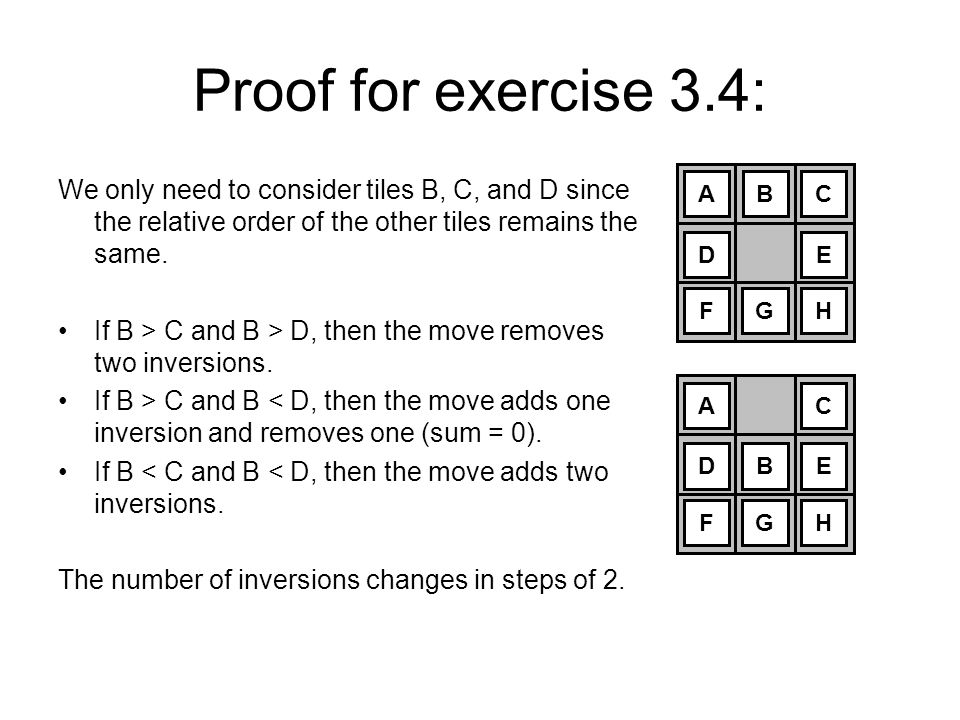 Proof for exercise 3.4: We only need to consider tiles B, C, and D since the relative order of the other tiles remains the same.