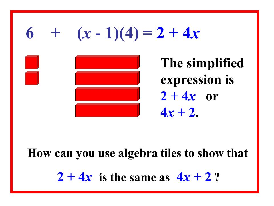 How can you use algebra tiles to show that