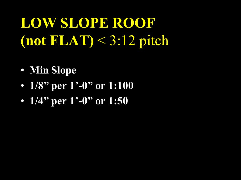 LOW SLOPE ROOF (not FLAT) < 3:12 pitch