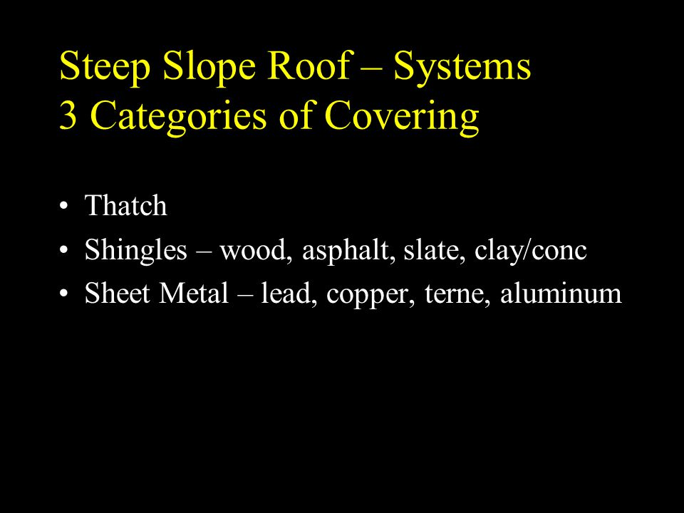 Steep Slope Roof – Systems 3 Categories of Covering