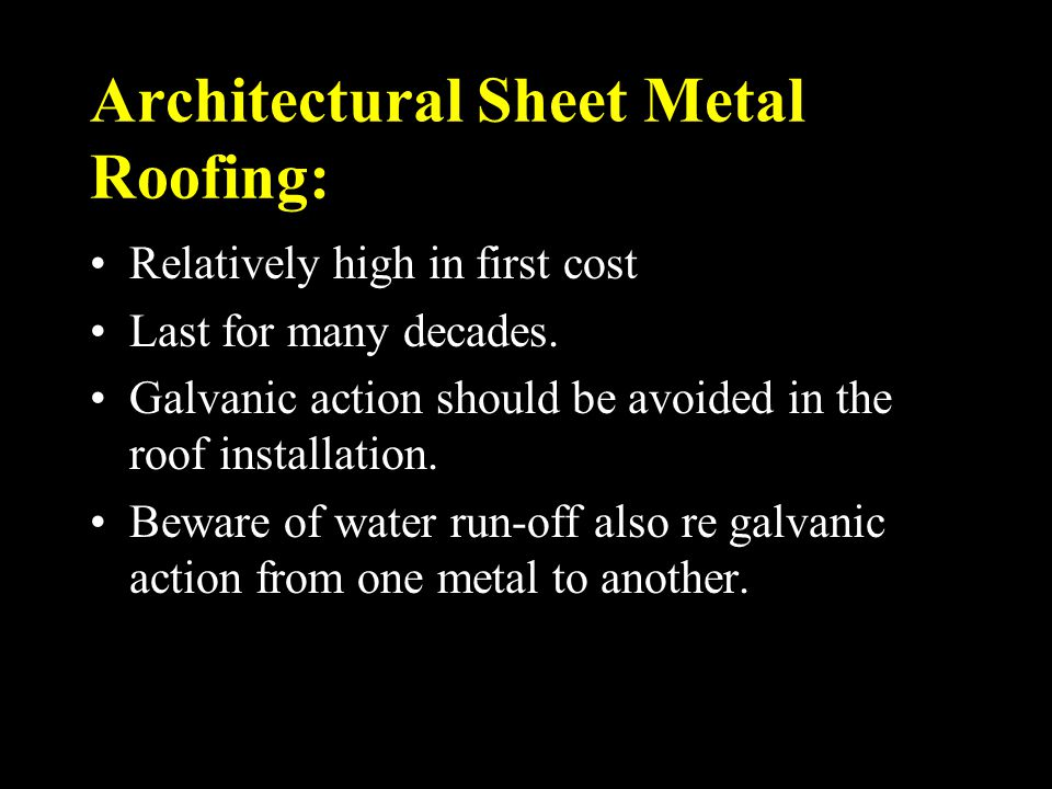 Architectural Sheet Metal Roofing: