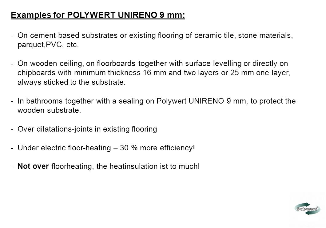 Examples for POLYWERT UNIRENO 9 mm: