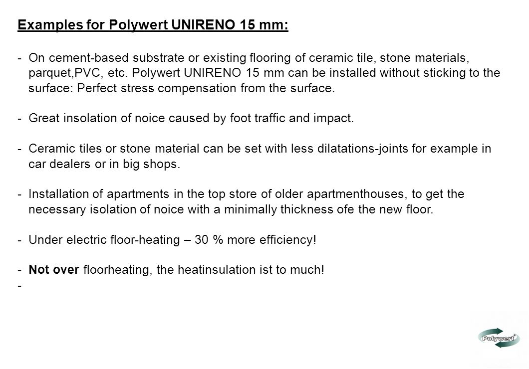Examples for Polywert UNIRENO 15 mm: