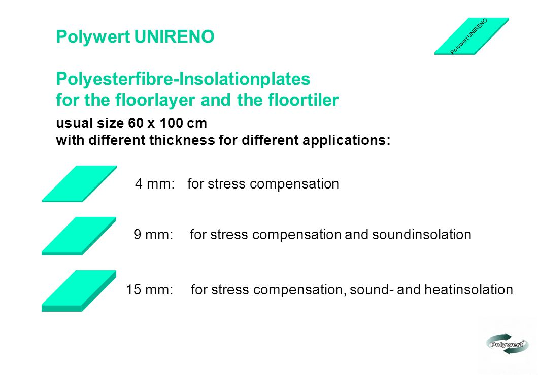 Polyesterfibre-Insolationplates for the floorlayer and the floortiler