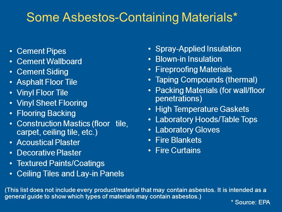 Some Asbestos-Containing Materials*