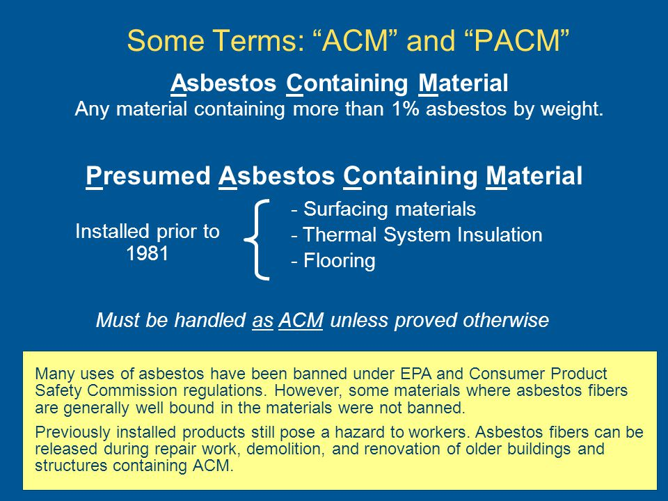 Some Terms: ACM and PACM