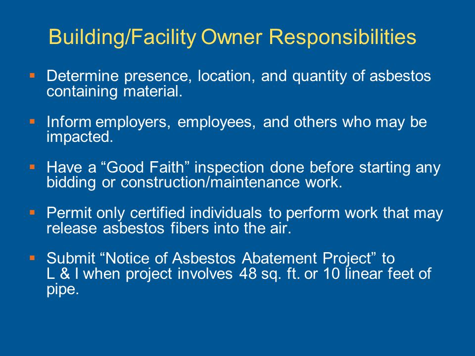 Building/Facility Owner Responsibilities