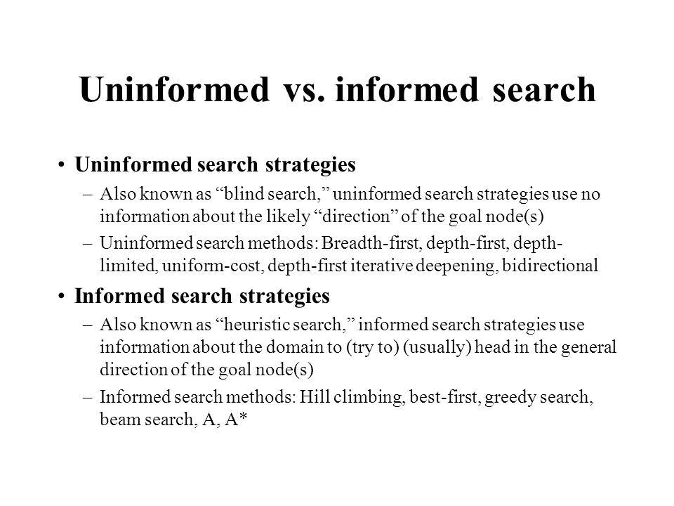 Uninformed vs. informed search