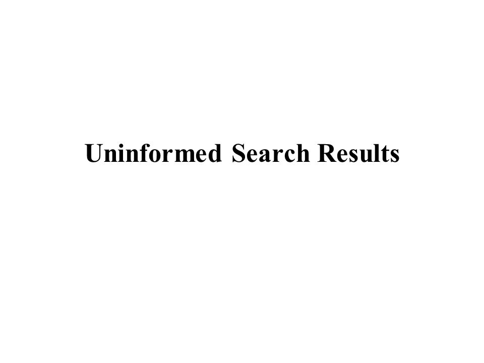 Uninformed Search Results
