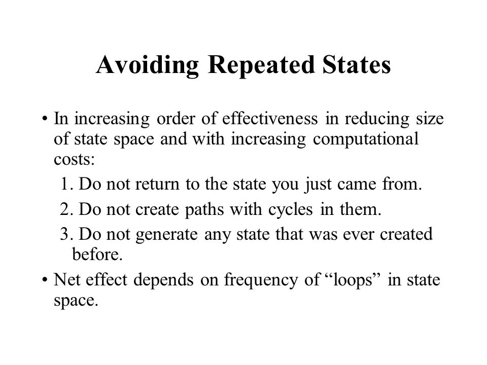 Avoiding Repeated States