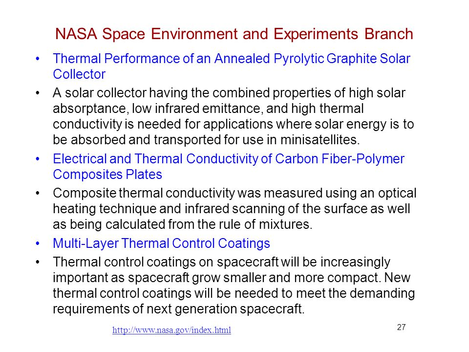 NASA Space Environment and Experiments Branch