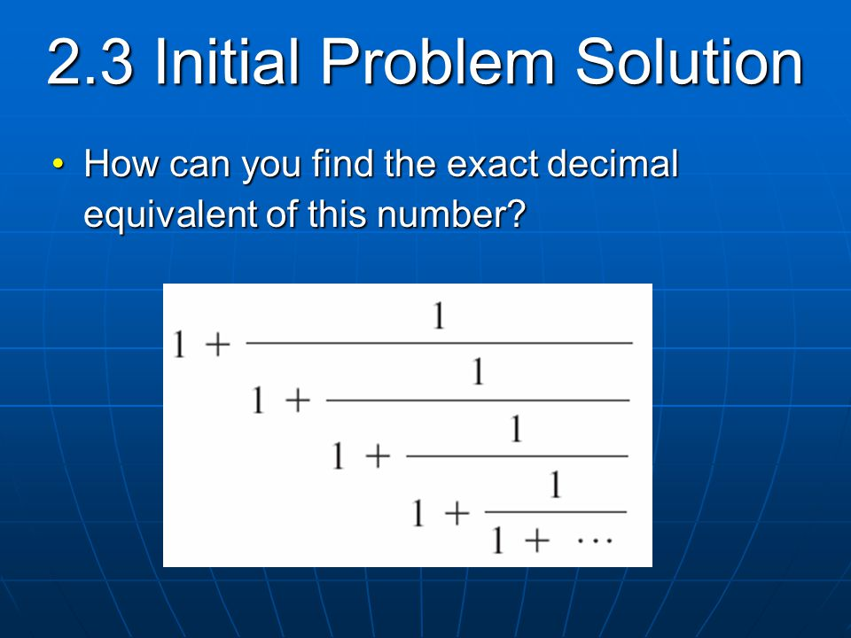 2.3 Initial Problem Solution