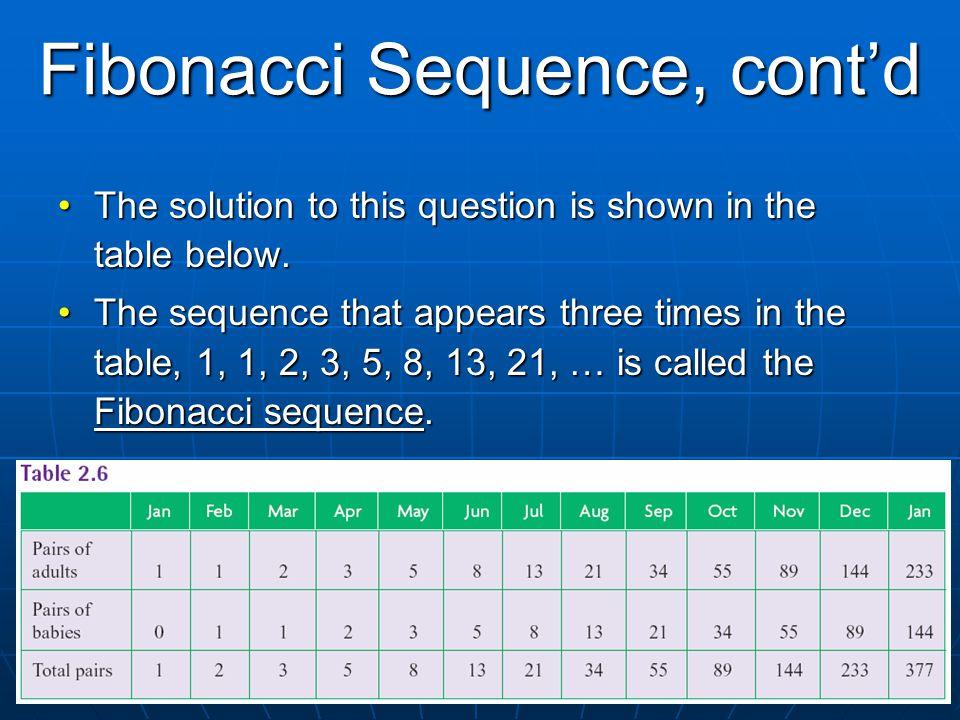 Fibonacci Sequence, cont'd