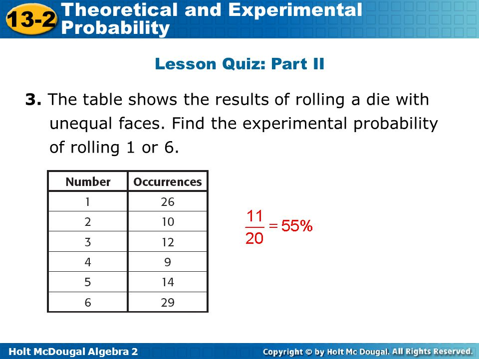 Theoretical And Experimental Probability Ppt Video Online