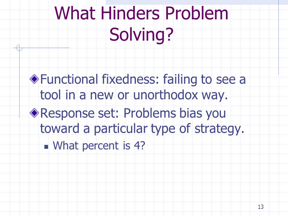 What Hinders Problem Solving