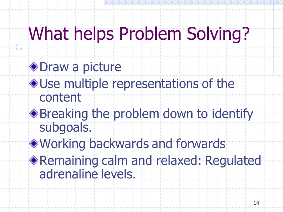 What helps Problem Solving