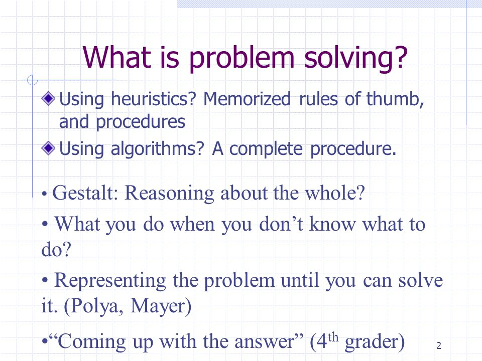 What is problem solving