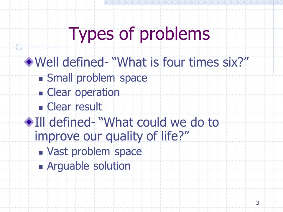 Types of problems Well defined- What is four times six