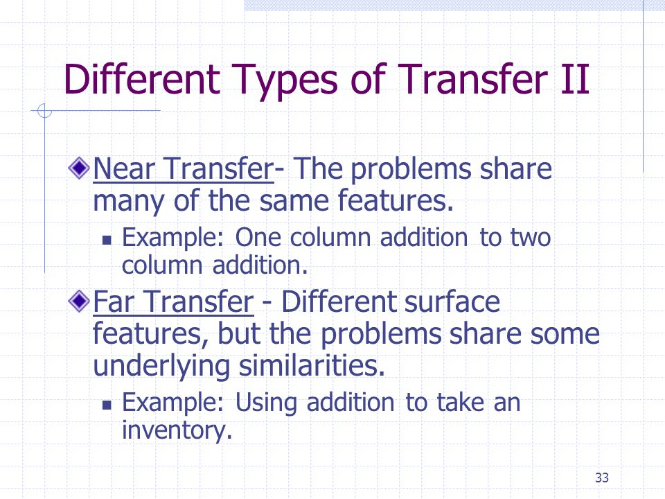 Different Types of Transfer II