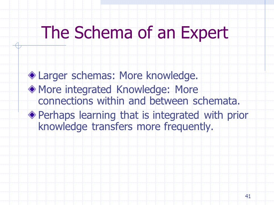 The Schema of an Expert Larger schemas: More knowledge.