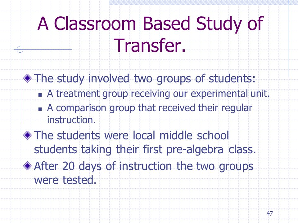 A Classroom Based Study of Transfer.