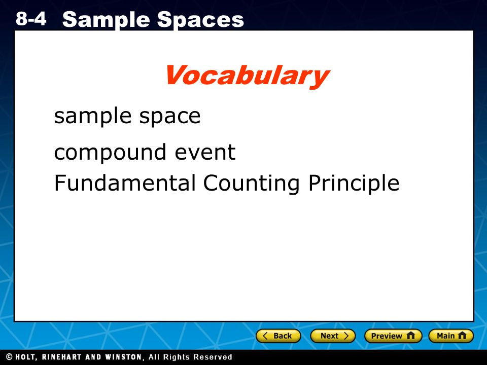 Vocabulary sample space compound event Fundamental Counting Principle