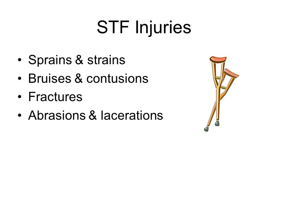 STF Injuries Sprains & strains Bruises & contusions Fractures