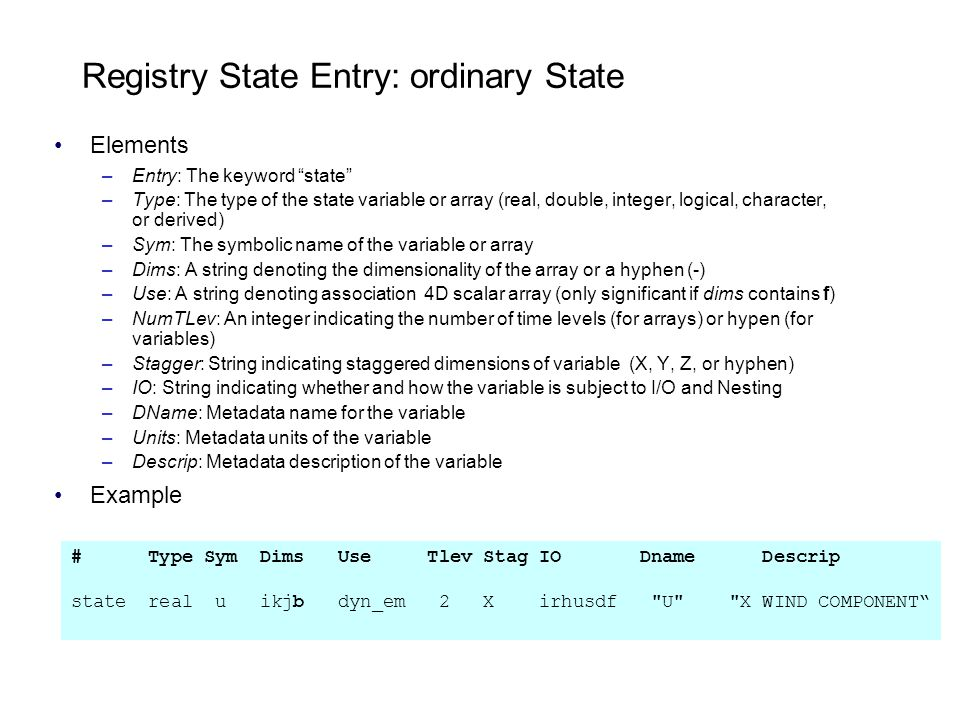 Registry State Entry: ordinary State