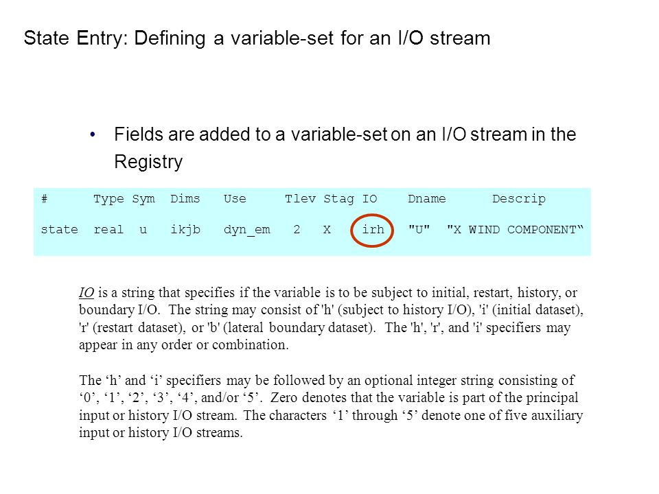 State Entry: Defining a variable-set for an I/O stream
