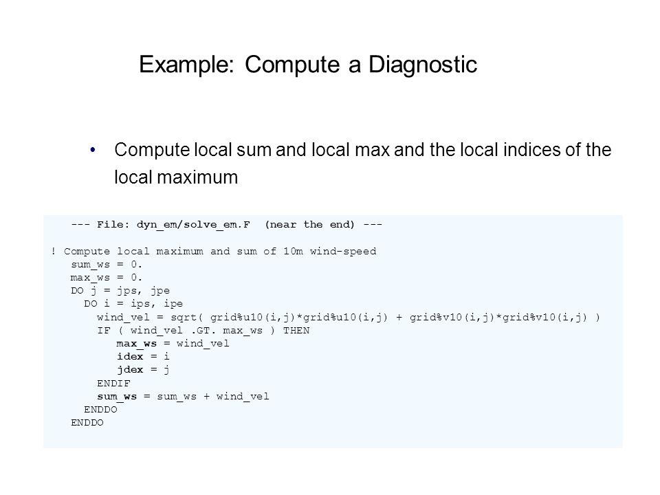 Example: Compute a Diagnostic