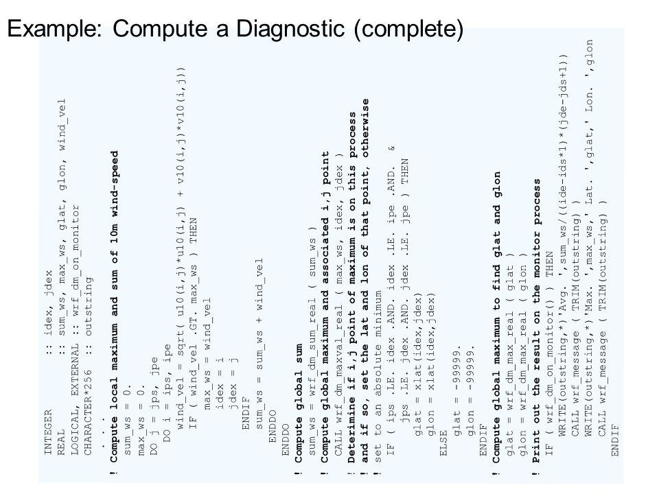 Example: Compute a Diagnostic (complete)