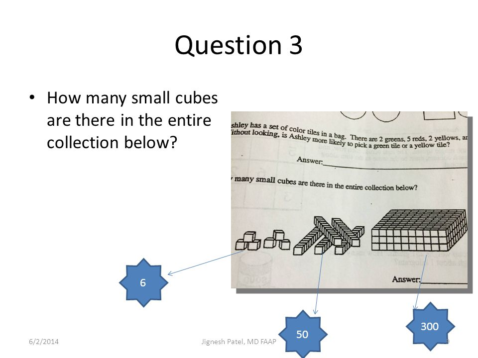 Question 3 How many small cubes are there in the entire collection below 6. 300. 50. 3/31/2017.