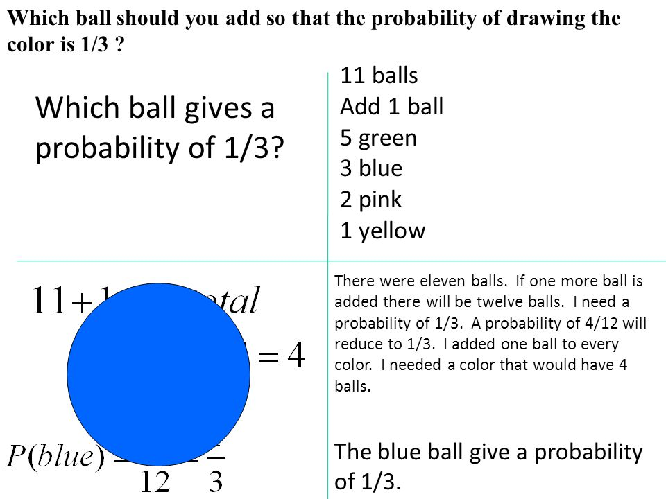 Which ball gives a probability of 1/3