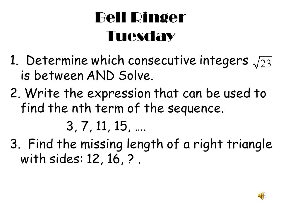 Bell Ringer Tuesday