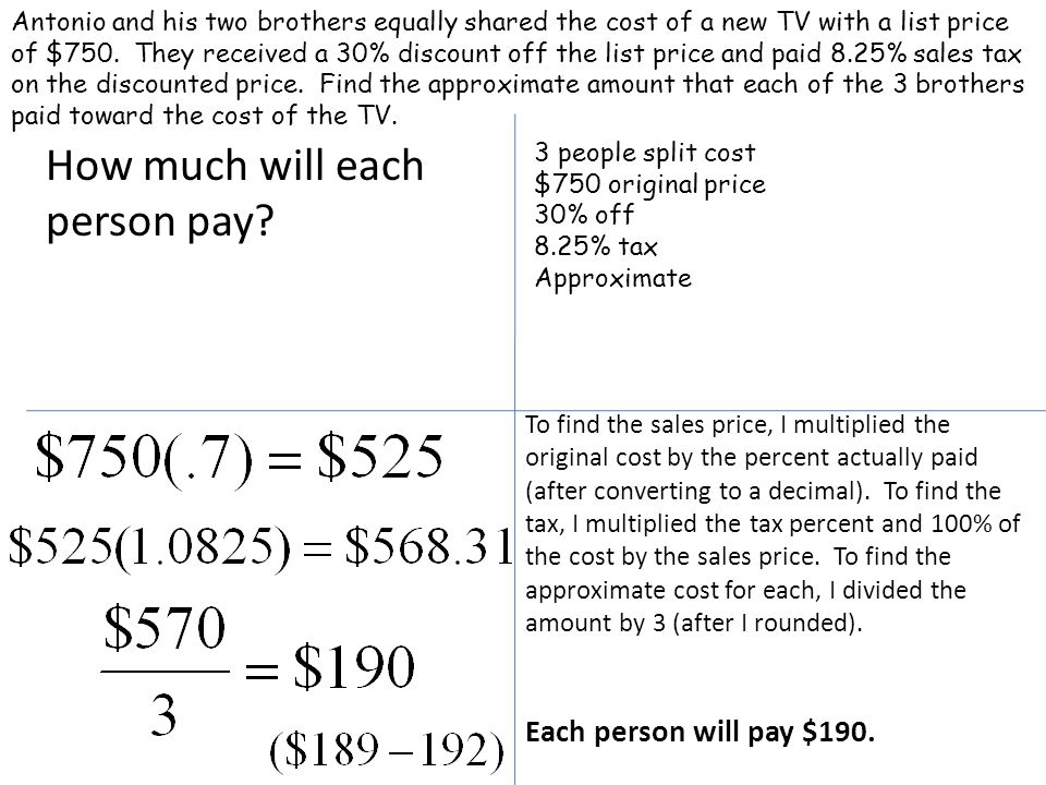 How much will each person pay