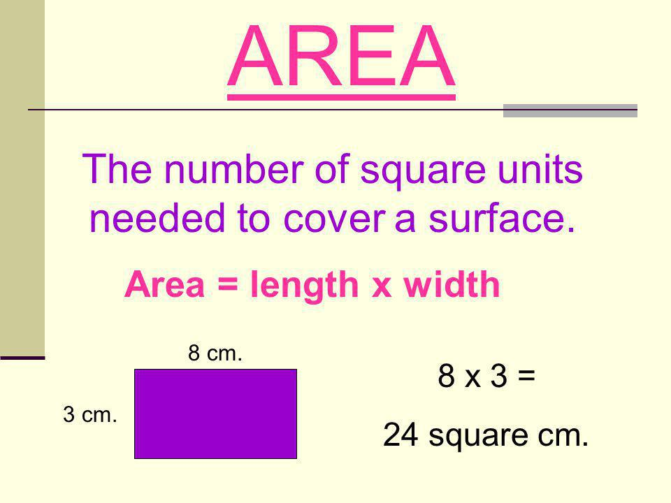 The number of square units needed to cover a surface.