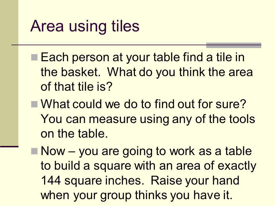 Area using tiles Each person at your table find a tile in the basket. What do you think the area of that tile is