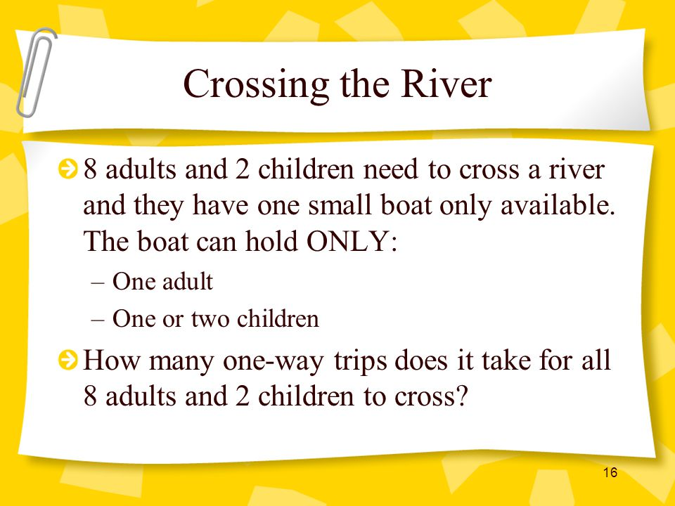 Crossing the River 8 adults and 2 children need to cross a river and they have one small boat only available. The boat can hold ONLY: