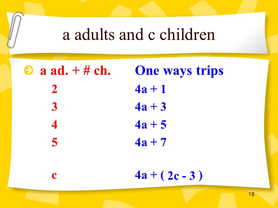 a adults and c children a ad. + # ch. One ways trips 2 4a + 1 3 4a + 3