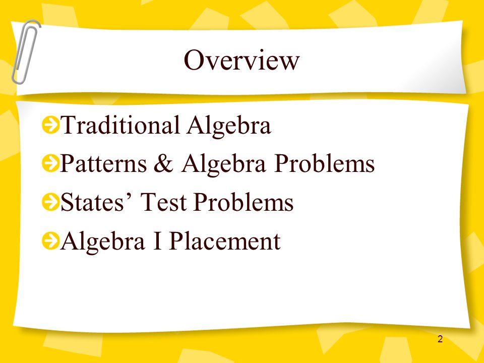 Overview Traditional Algebra Patterns & Algebra Problems